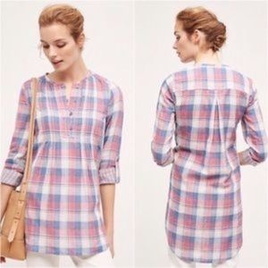 Anthro Holding Horses Gauze Plaid Hi Low Tunic